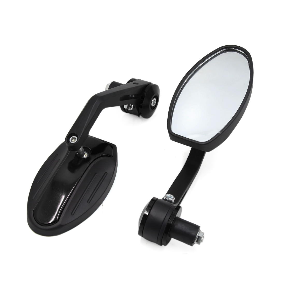 2 Pcs 6mm Thread Dia Metal Handle Adjustable Motorcycle Rearview Side Mirrors Black