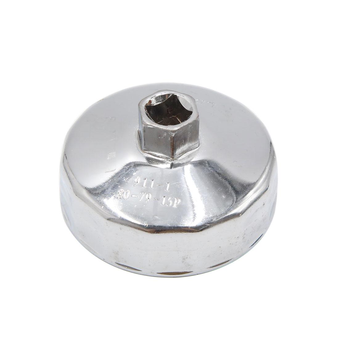 15 Flutes 78mm Inner Dia Stainless Steel Oil Filter Wrench Cap Remover for Car
