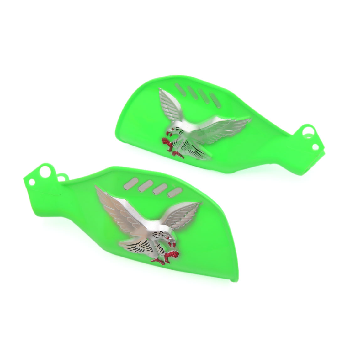 Pair Green Plastic Eagle Patter Brush Bar Hand Guards Protector for Motorcycle