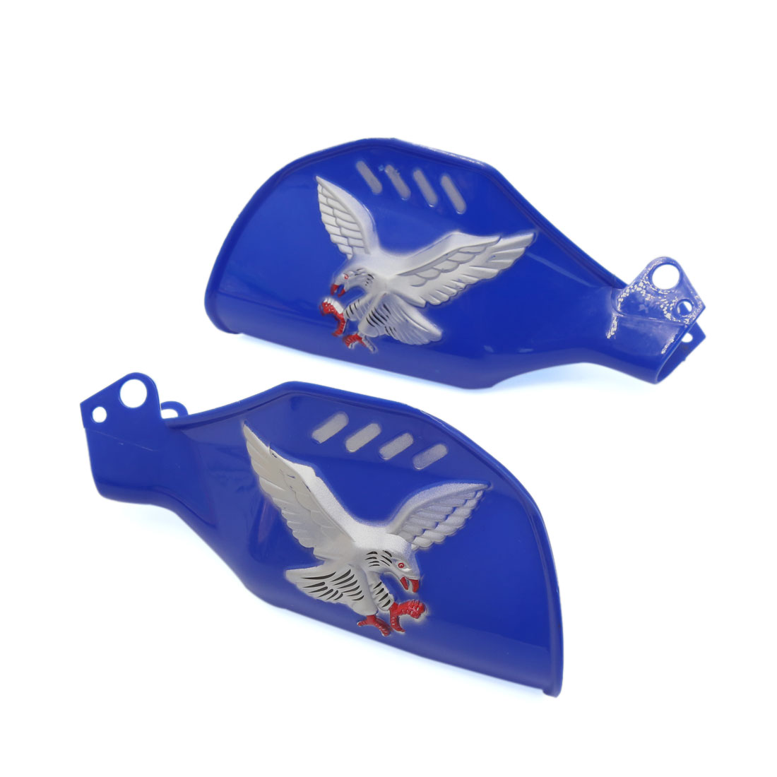 Pair Blue Plastic Eagle Patter Brush Bar Hand Guards Protector for Motorcycle