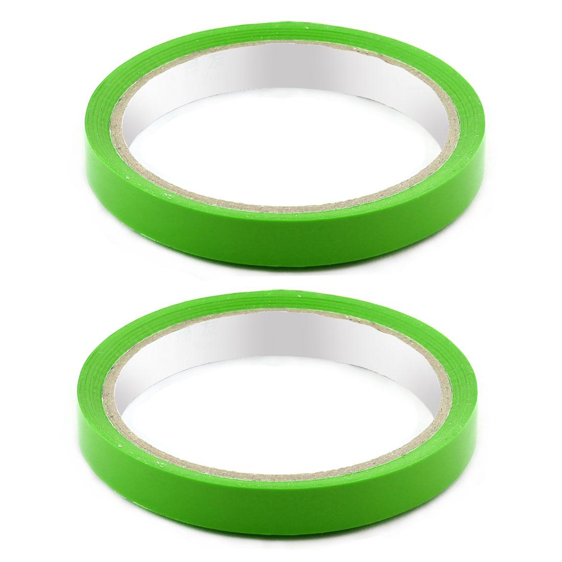 Supermarket PVC Vagetable Bag Neck Sealing Adhesive Tape Green 1.2cm Width 2pcs