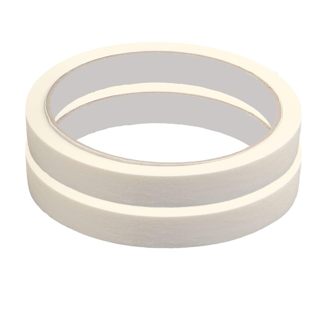 Home Car Paper Writing Masking Adhesive Tape White 1.2cm x 15M 2 Rolls