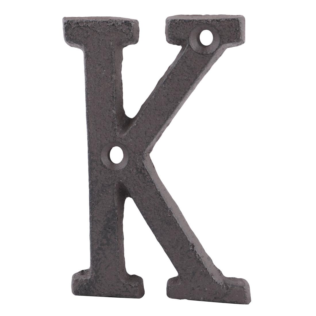Street Cast Iron K Shaped Vintage Style Door Letter Alphabet Sign Label Black
