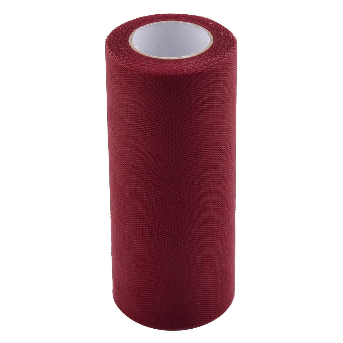 Wedding Polyester Gift Box DIY Decor Tulle Spool Roll Burgundy 6 Inch x 25 Yards