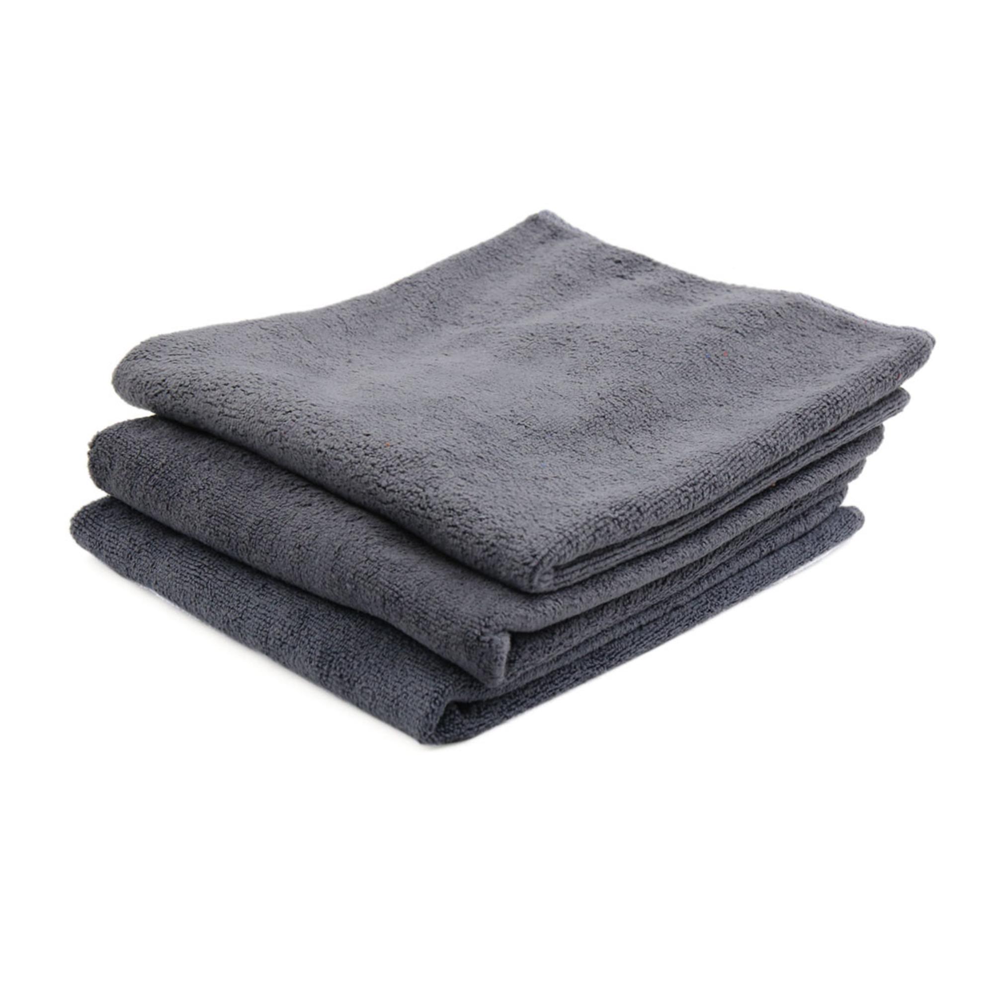3pcs 40 x 40cm 400GSM Microfiber Car Cleaning Towels Drying Washing Cloth Gray