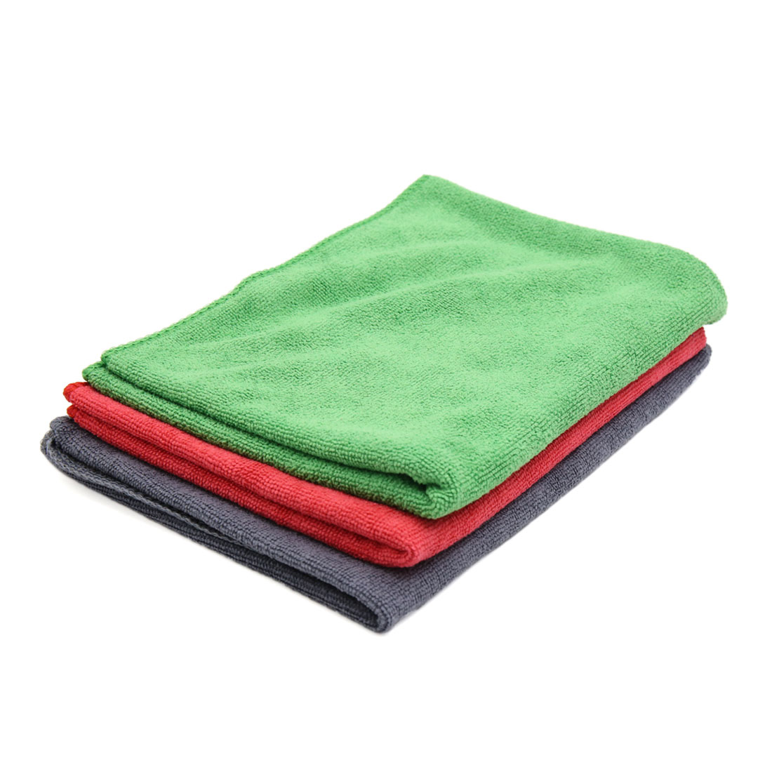 3pcs 65 x 33cm 250GSM Microfiber Towel Cloths for Car Washing Red Green Gray