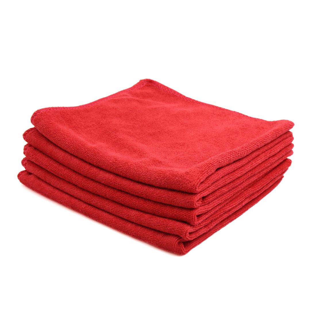 5pcs 40 x 40cm 300GSM Microfiber Home Car Towel Drying Washing Cloth Red