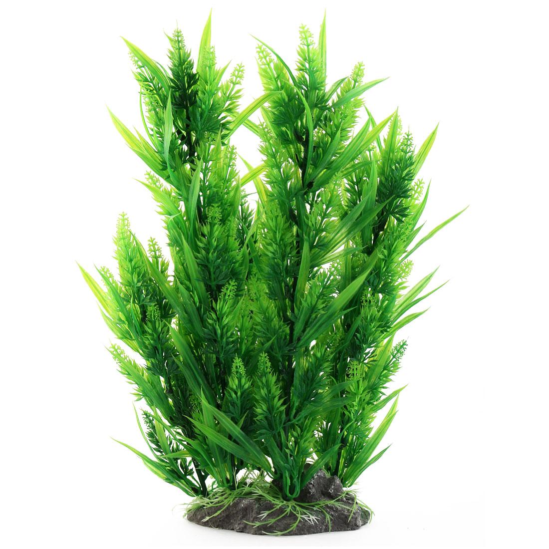 Aquarium Aquatic Ceramic Artificial Leaf Plant Grass Lawn Green 38cm Length