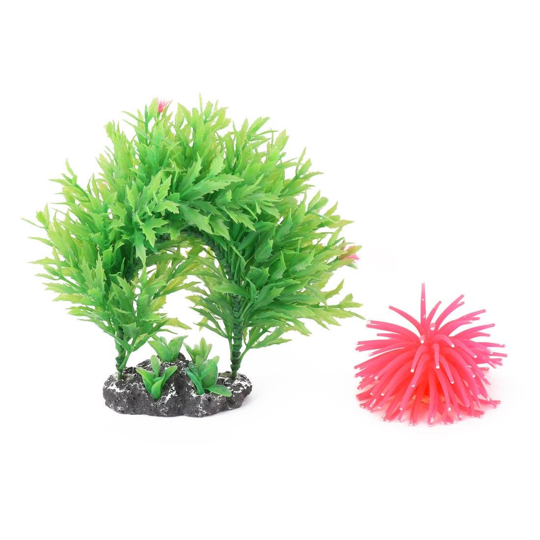 Aquarium Tank Plastic Artificial Mini Coral Wreath Water Plants Grass 2 in 1