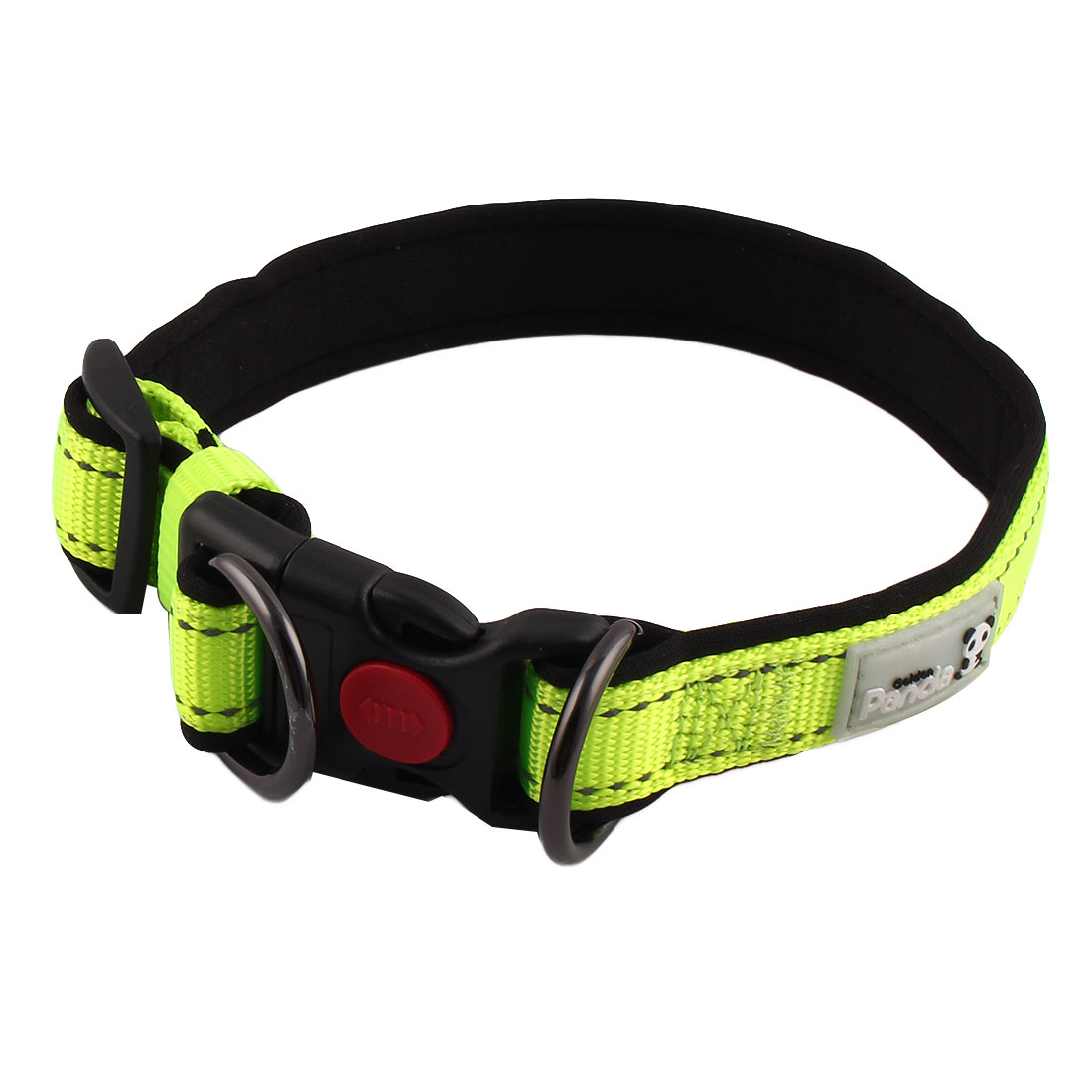 Pet Nylon Adjustable Reflective Stiching Release Buckle Dog Collar Green Size M