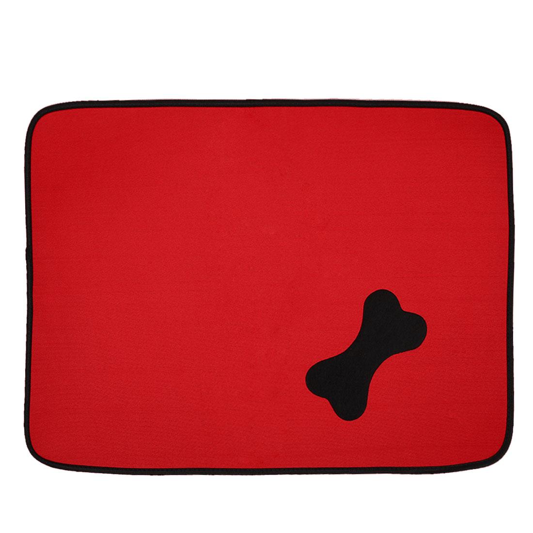Dog Nylon Rectangle Design Bone Pattern Anti Slip Pad Mat Doormat Red 78 x 60cm
