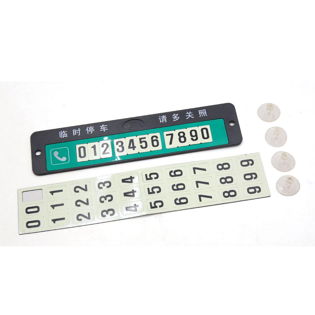 Green Car Auto Luminous Parking Notification Phone Number Card 20 x 4.8 x 0.3cm