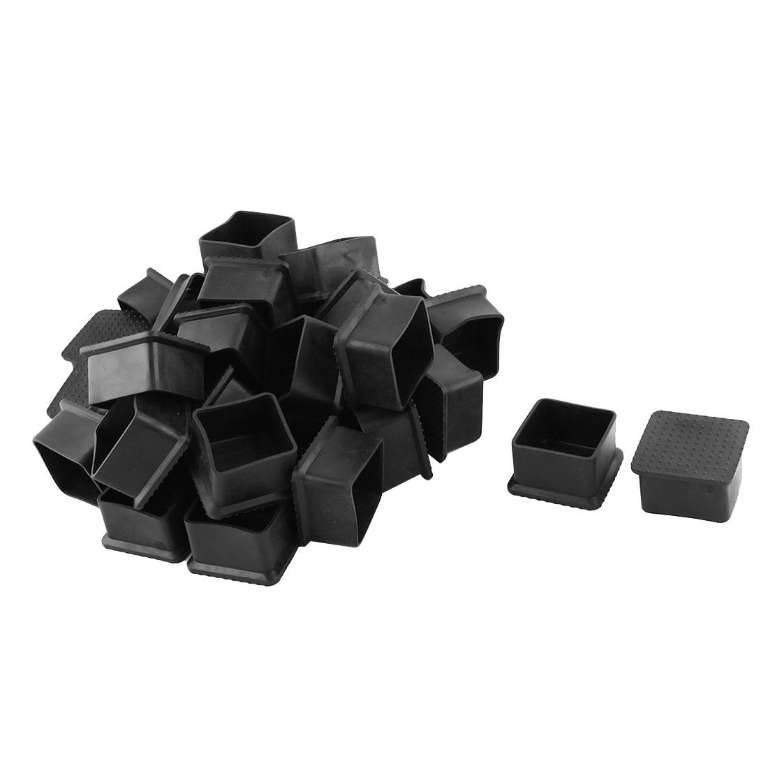 Home Rubber Anti-slip Furniture Chair Desk Foot Protector Cover Black 33 Pcs