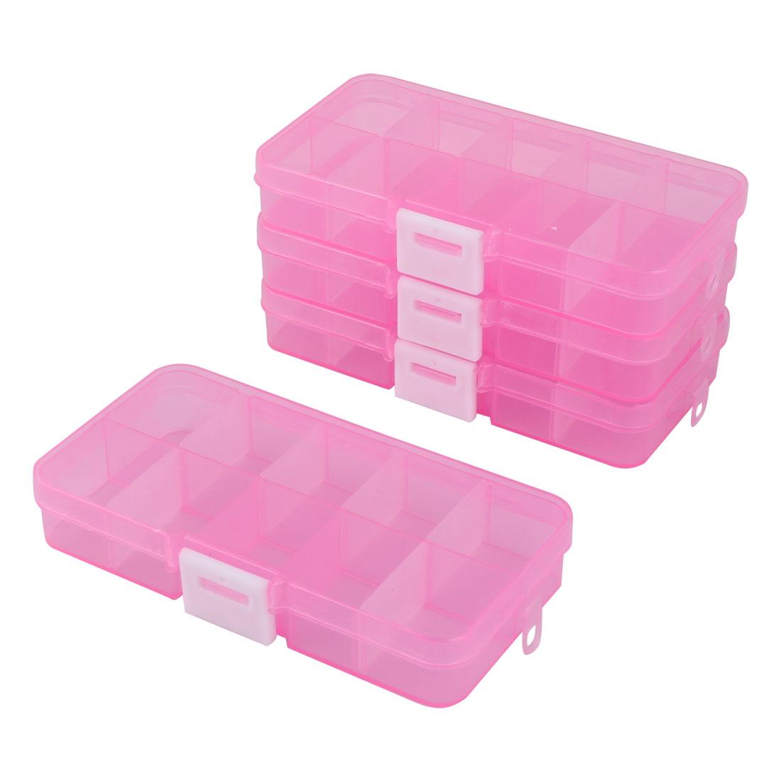 Plastic 10 Slots Dispenser Detachable Capsule Pill Tablet Storage Box Pink 4 Pcs