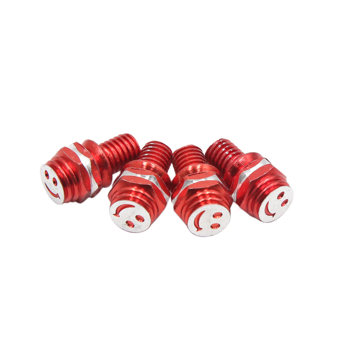 4pcs Red 8mm Thread Diameter Smiling Face Pattern Motorcycle License Plate Bolt Screws