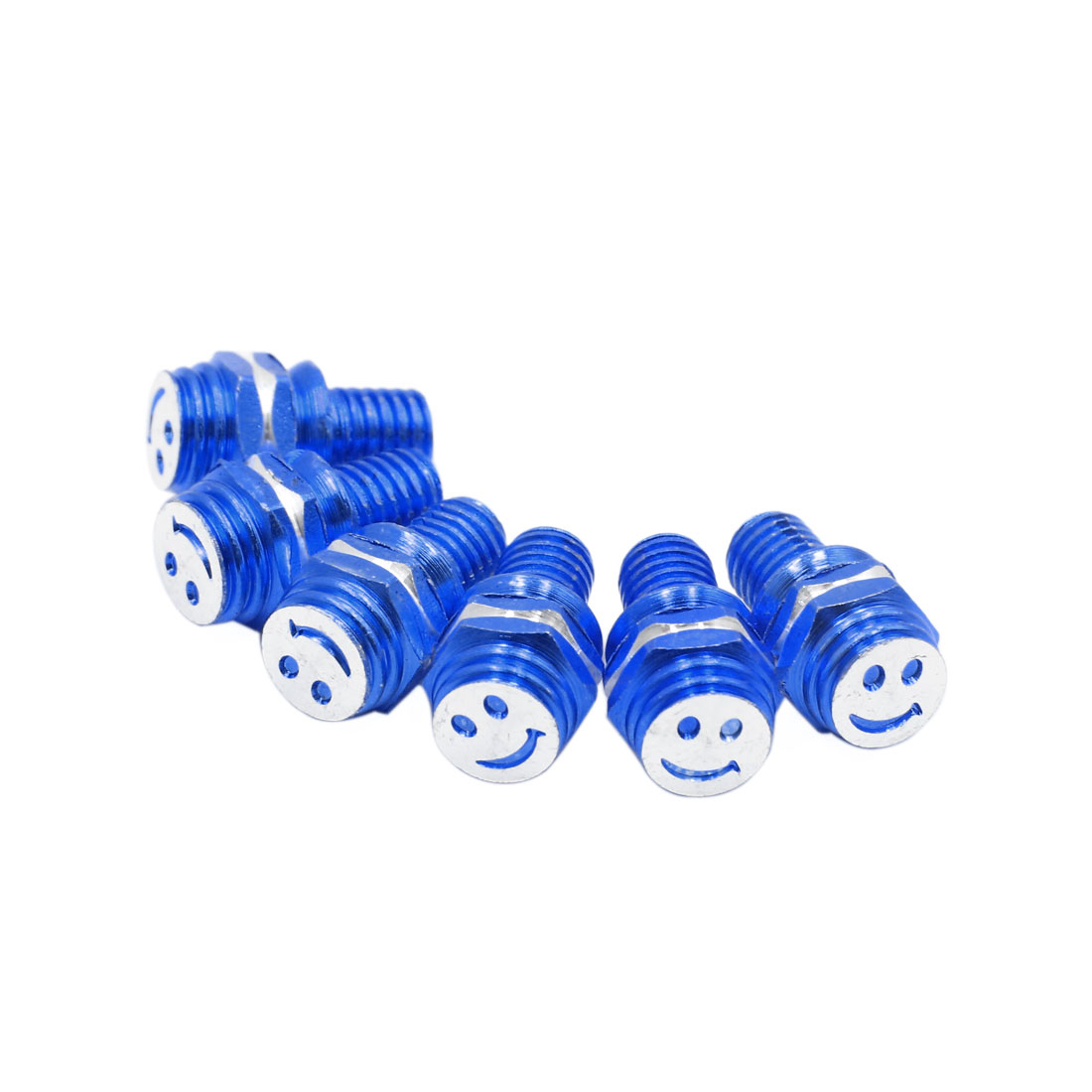 6pcs Blue 8mm Thread Diameter Smiling Face Pattern Motorcycle License Plate Bolt Screws