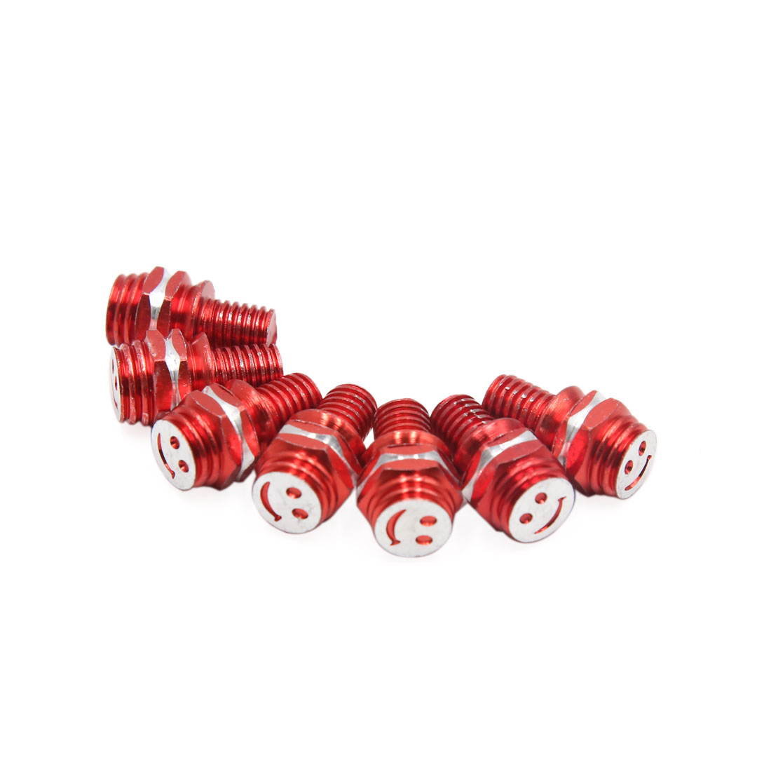 7pcs Red 8mm Thread Diameter Smiling Face Pattern Motorcycle License Plate Bolt Screws