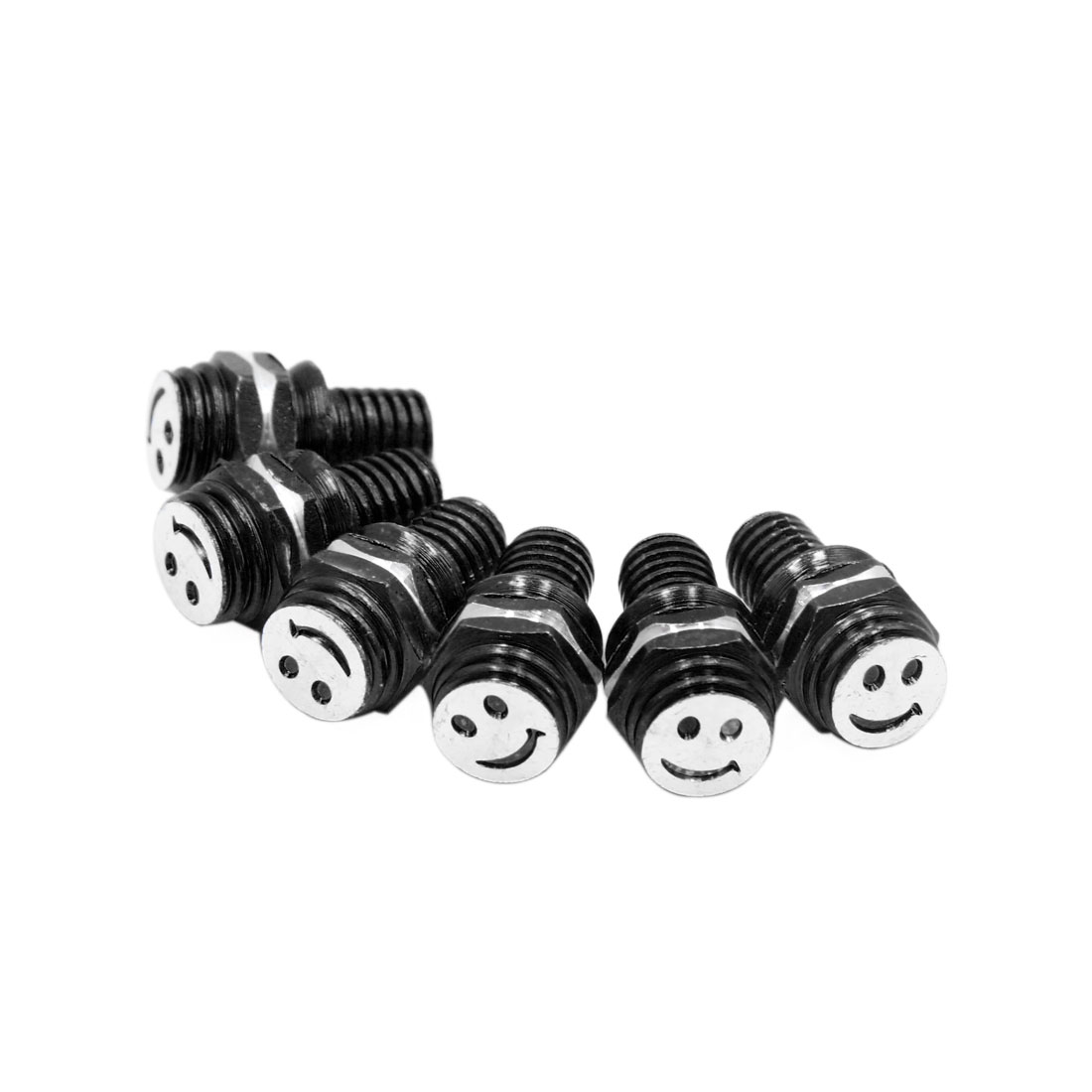 6pcs Black 8mm Thread Diameter Smiling Face Pattern Motorcycle License Plate Bolt Screws