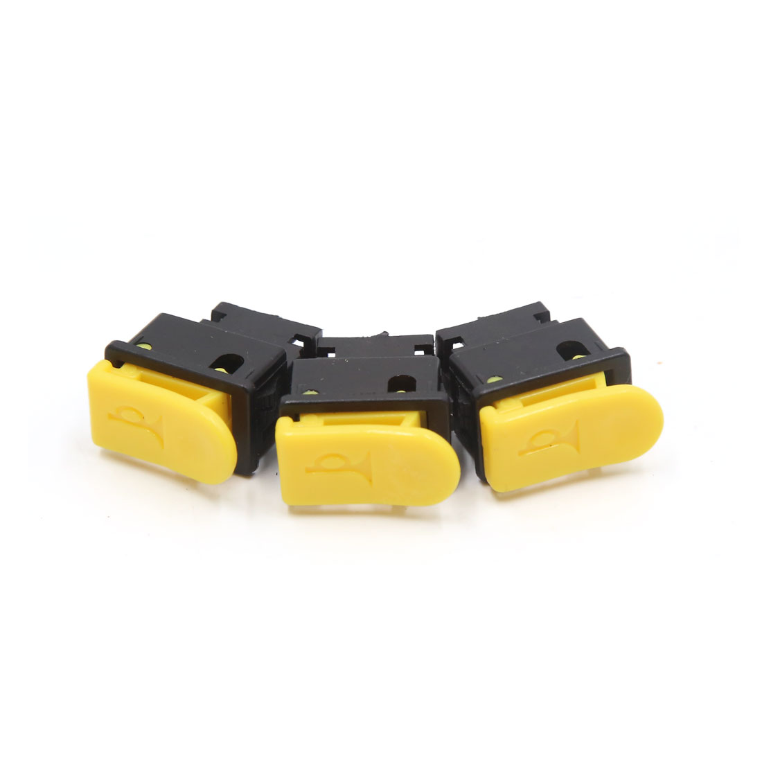 3pcs Yellow Black DC 12V 2 Terminals Horn Push Button Switch for Motorcycle