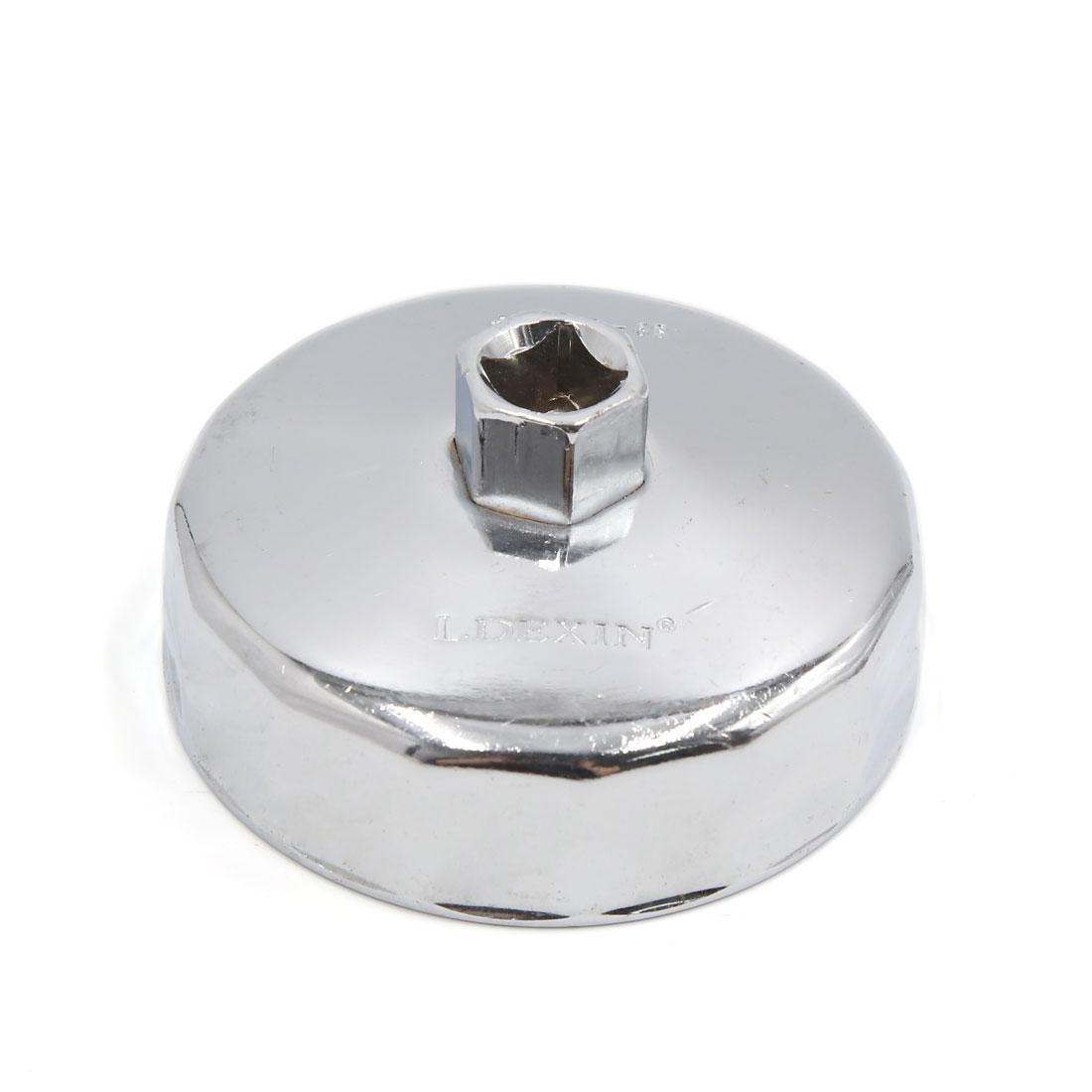 13mm Square Socket 15 Flutes 89mm Inside Diameter Cap-Type Oil Filter Wrench Spanner for Car Vehicle