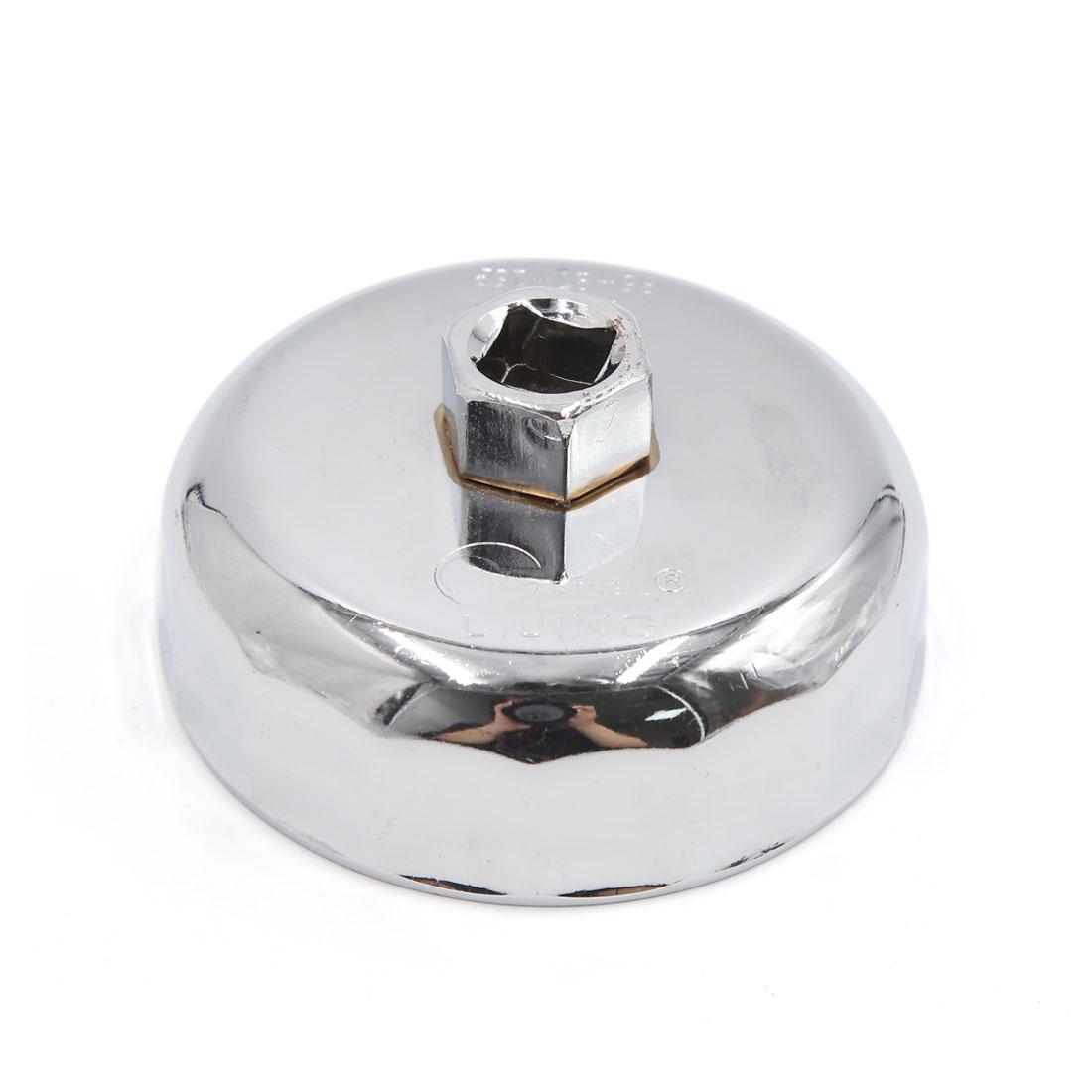 13mm Square Socket 16 Flutes 87mm Inside Diameter Cap-Type Oil Filter Wrench Spanner for Car Vehicle