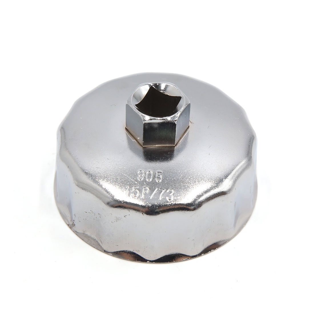 13mm Square Socket 15 Flutes 73mm Inside Diameter Cap-Type Oil Filter Wrench Spanner for Car Vehicle