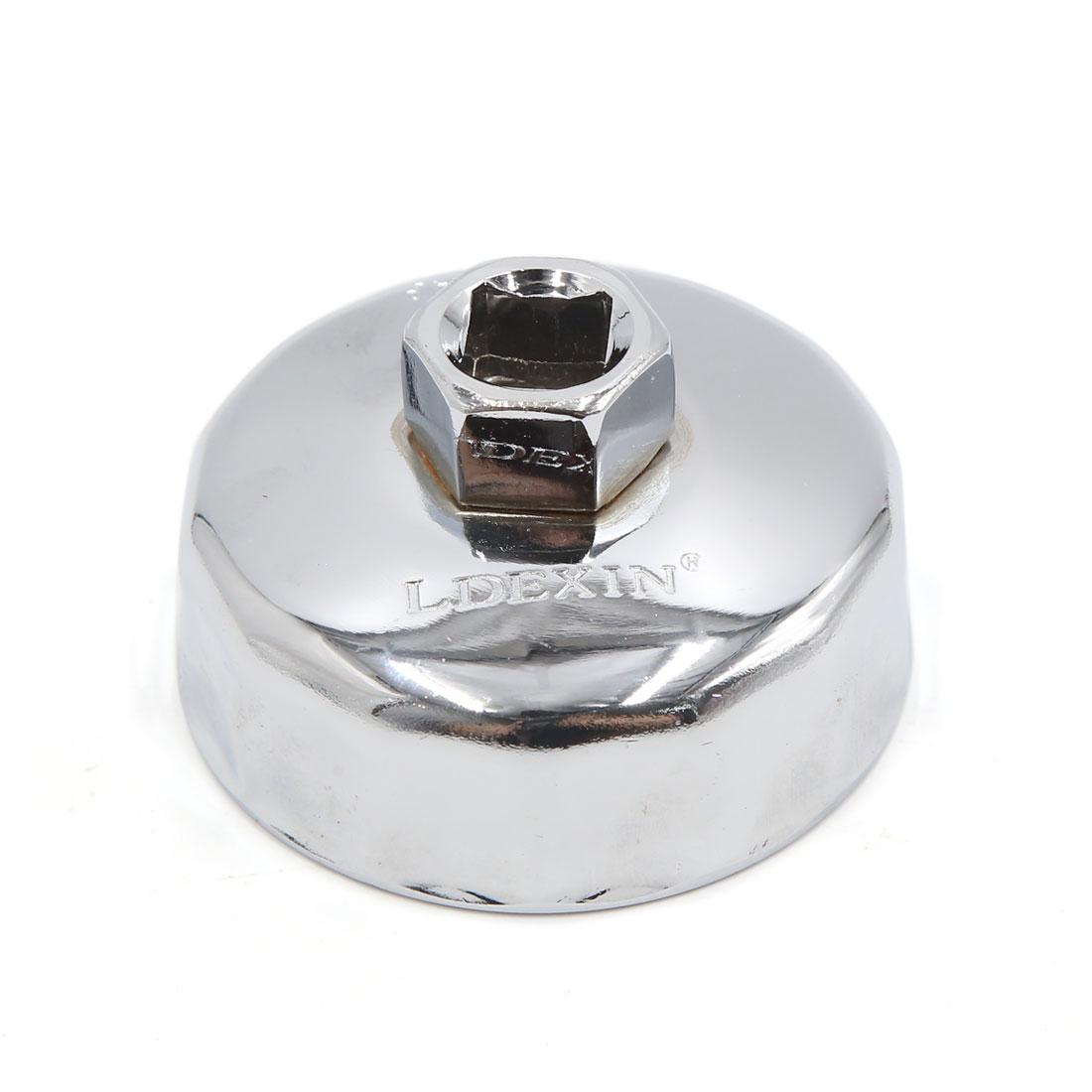 13mm Square Socket 14 Flutes 67mm Inside Diameter Cap-Type Oil Filter Wrench Spanner for Car Vehicle