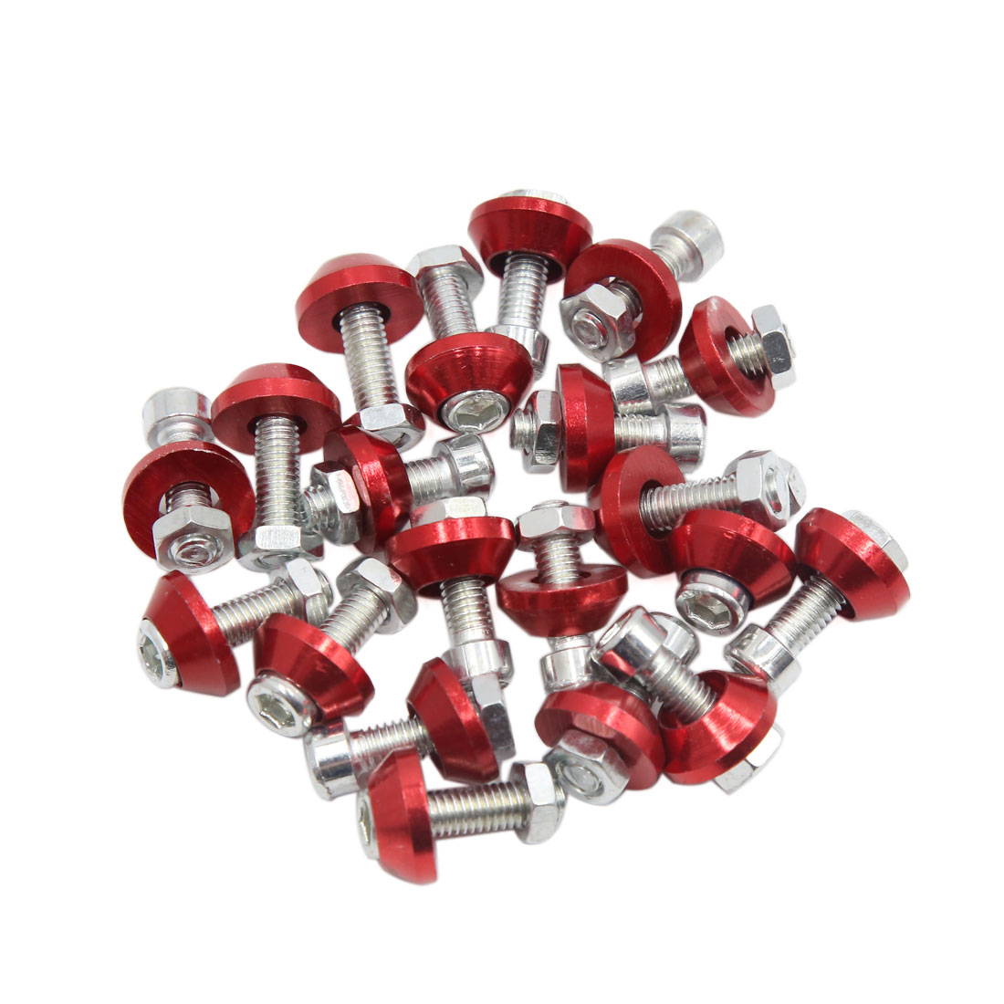 20pcs Red 6mm Thread Diameter Motorcycle License Plate Frame Screws Bolts Caps