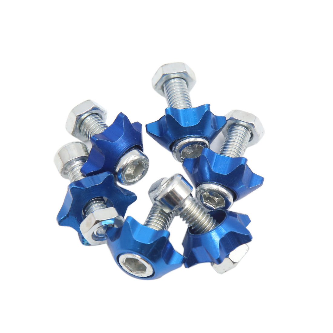 6pcs Blue 6mm Thread Diameter Motorcycle License Plate Frame Screws Bolts Caps
