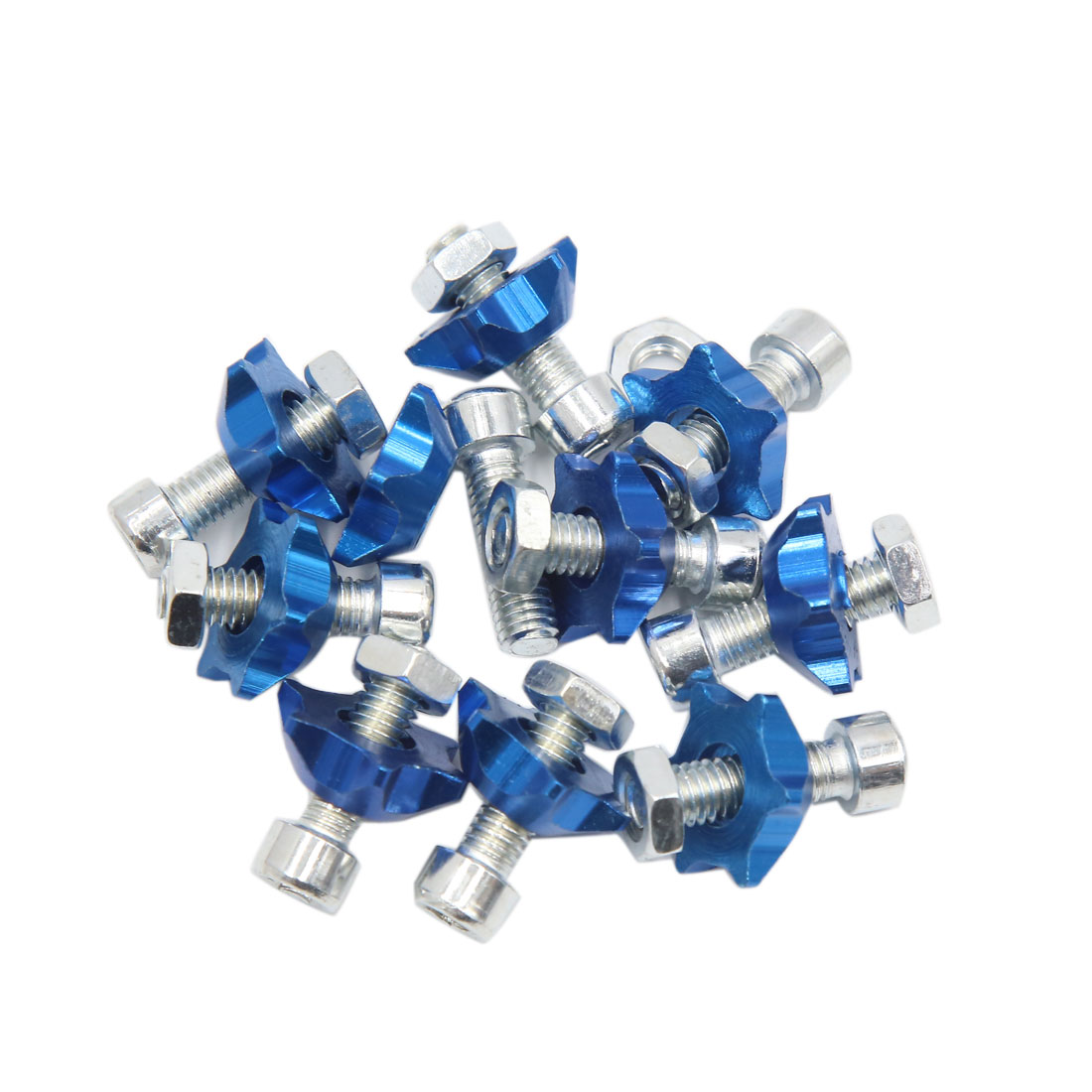 10pcs Blue 6mm Thread Diameter Motorcycle License Plate Frame Screws Bolts Caps