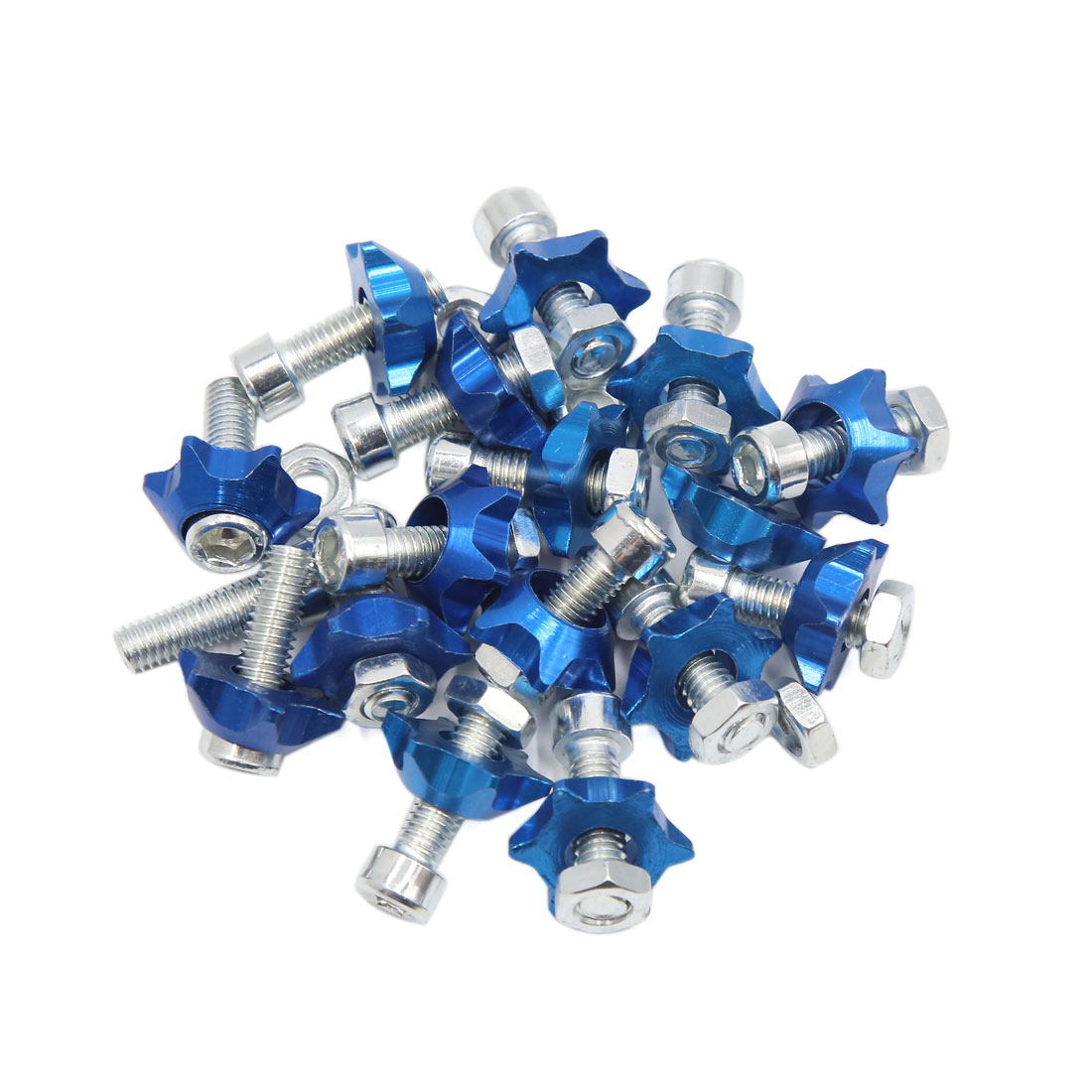 16pcs Blue 6mm Thread Diameter Motorcycle License Plate Frame Screws Bolts Caps