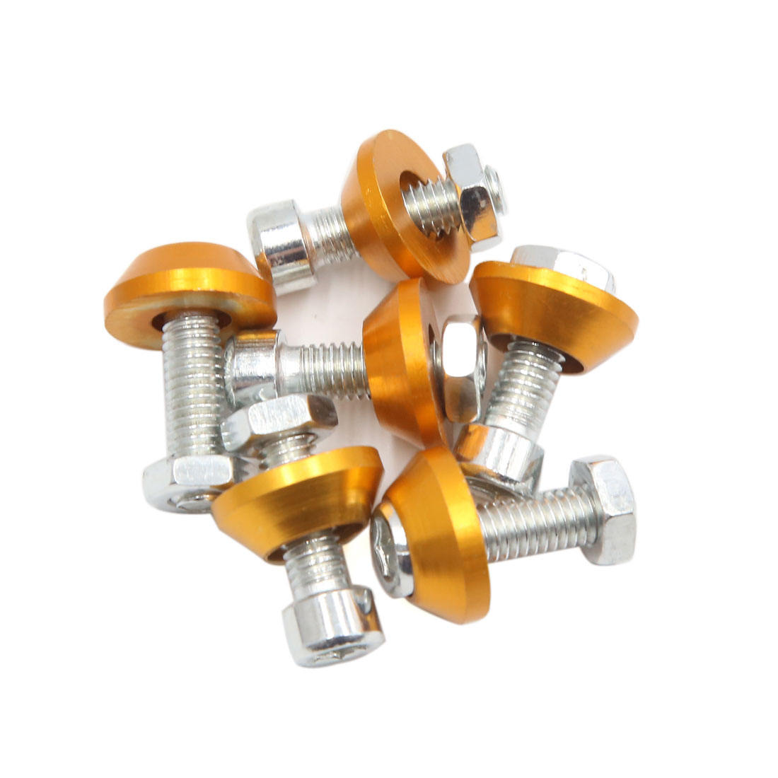 6pcs Gold Tone 6mm Thread Diameter Motorcycle License Plate Frame Screws Bolts Caps