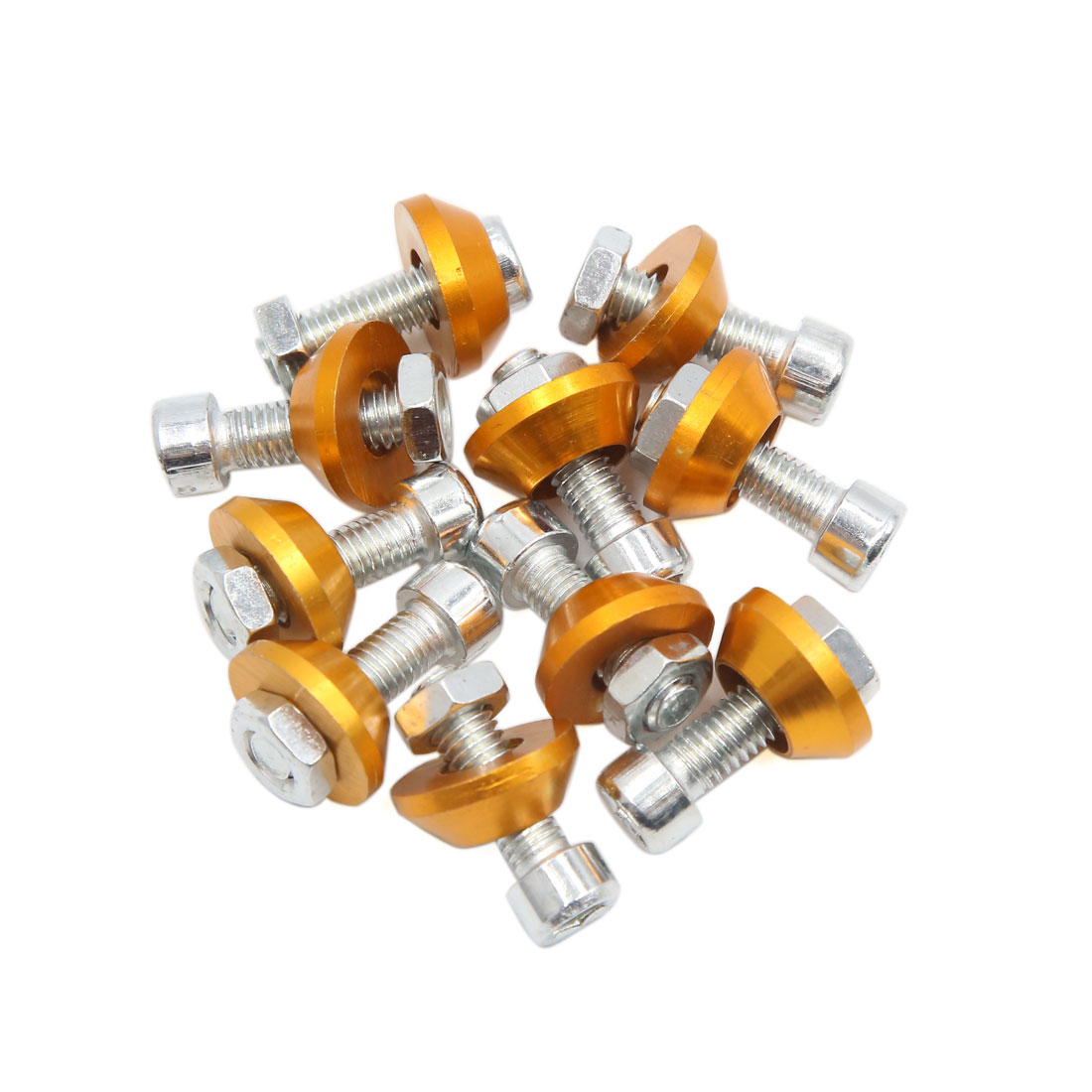 10pcs Gold Tone 6mm Thread Diameter Motorcycle License Plate Frame Screws Bolts Caps
