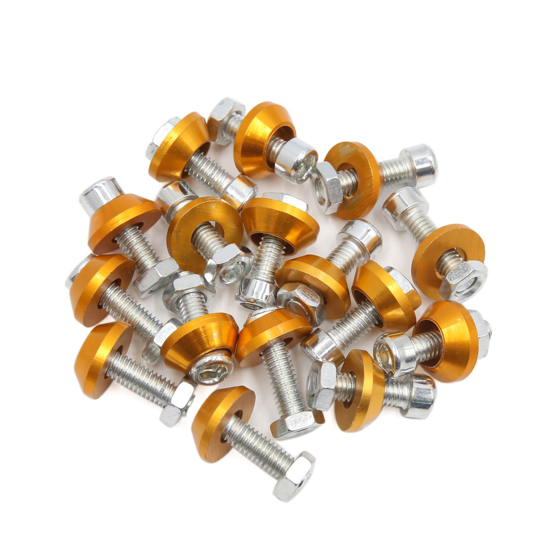 16pcs Gold Tone 6mm Thread Diameter Motorcycle License Plate Frame Screws Bolts Caps