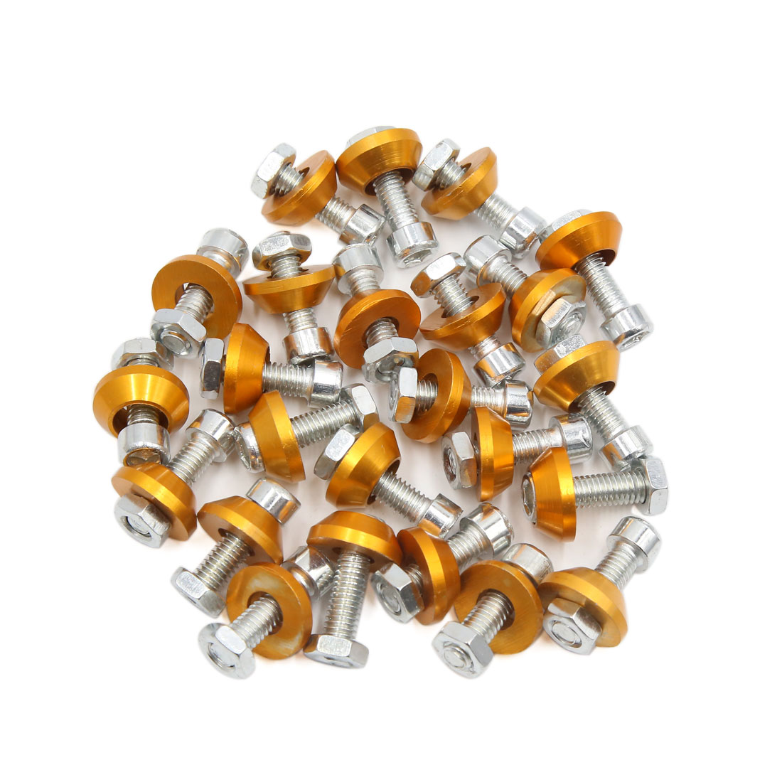 24pcs Gold Tone 6mm Thread Diameter Motorcycle License Plate Frame Screws Bolts Caps