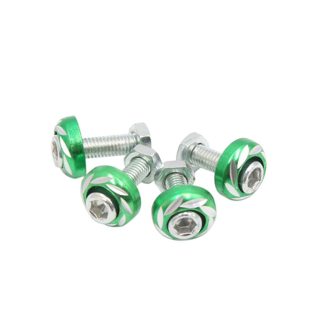 4pcs Green 6mm Thread Diameter Motorcycle License Plate Frame Carving Screws Bolts Caps