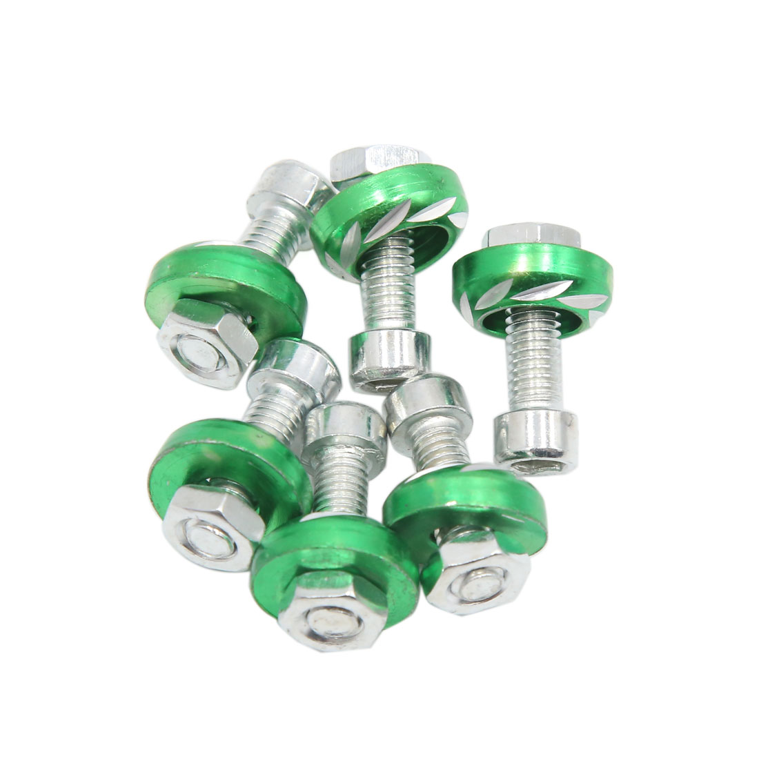 6pcs Green 6mm Thread Diameter Motorcycle License Plate Frame Carving Screws Bolts Caps