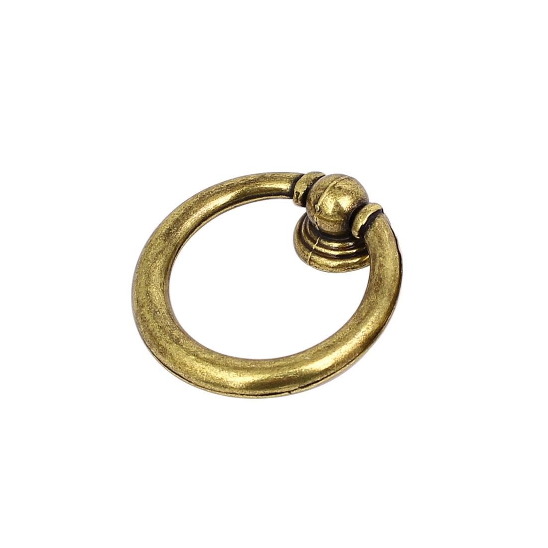 Drawer Dresser Retro Style Metal Round Pull Handle Ring Bronze Tone