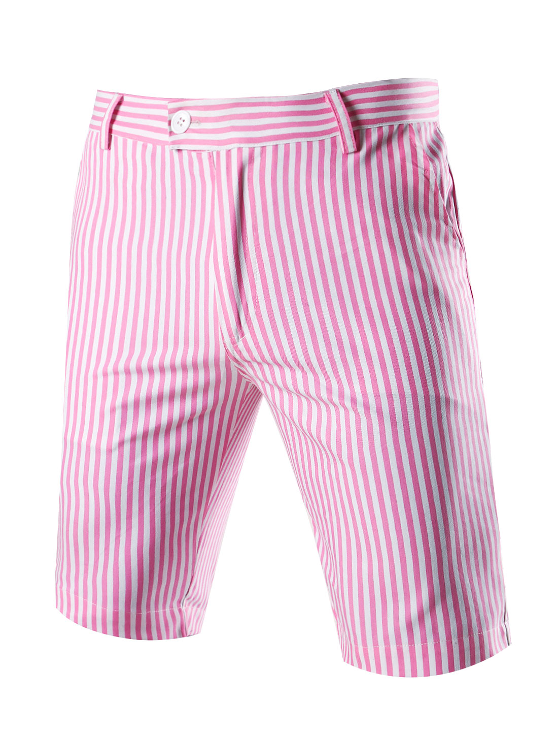 Men Vertical Stripes Four Pockets Casual Chino Shorts Pink W34