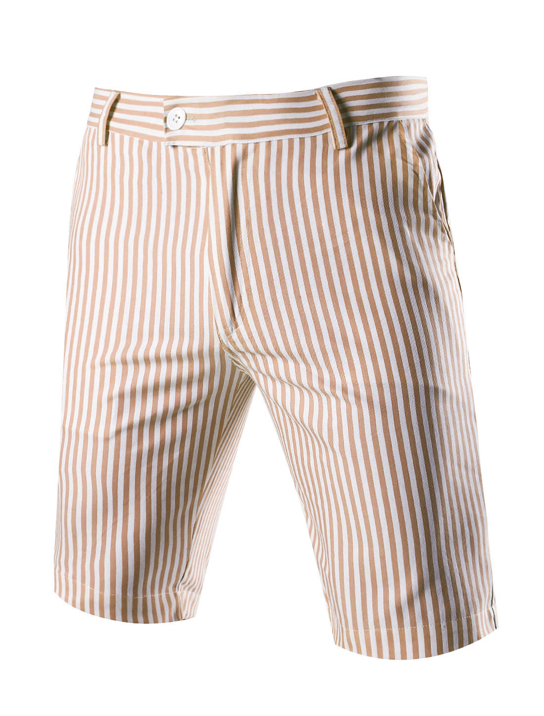 Men Vertical Stripes Four Pockets Casual Chino Shorts Beige W36