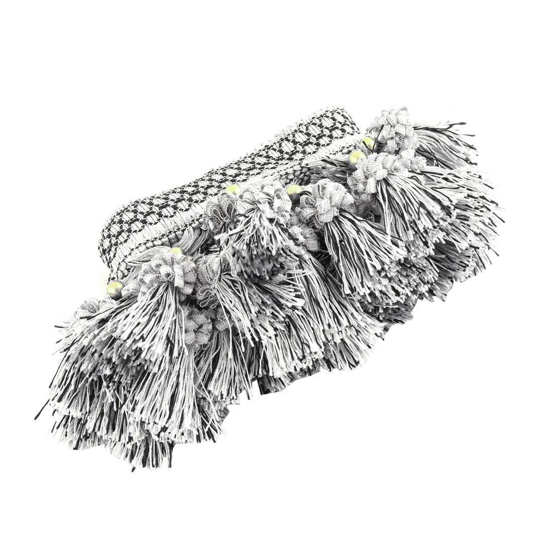Family Polyester Flower Ball Pendant Curtain Tassel Fringe Trim Gray 3.3 Yards Length