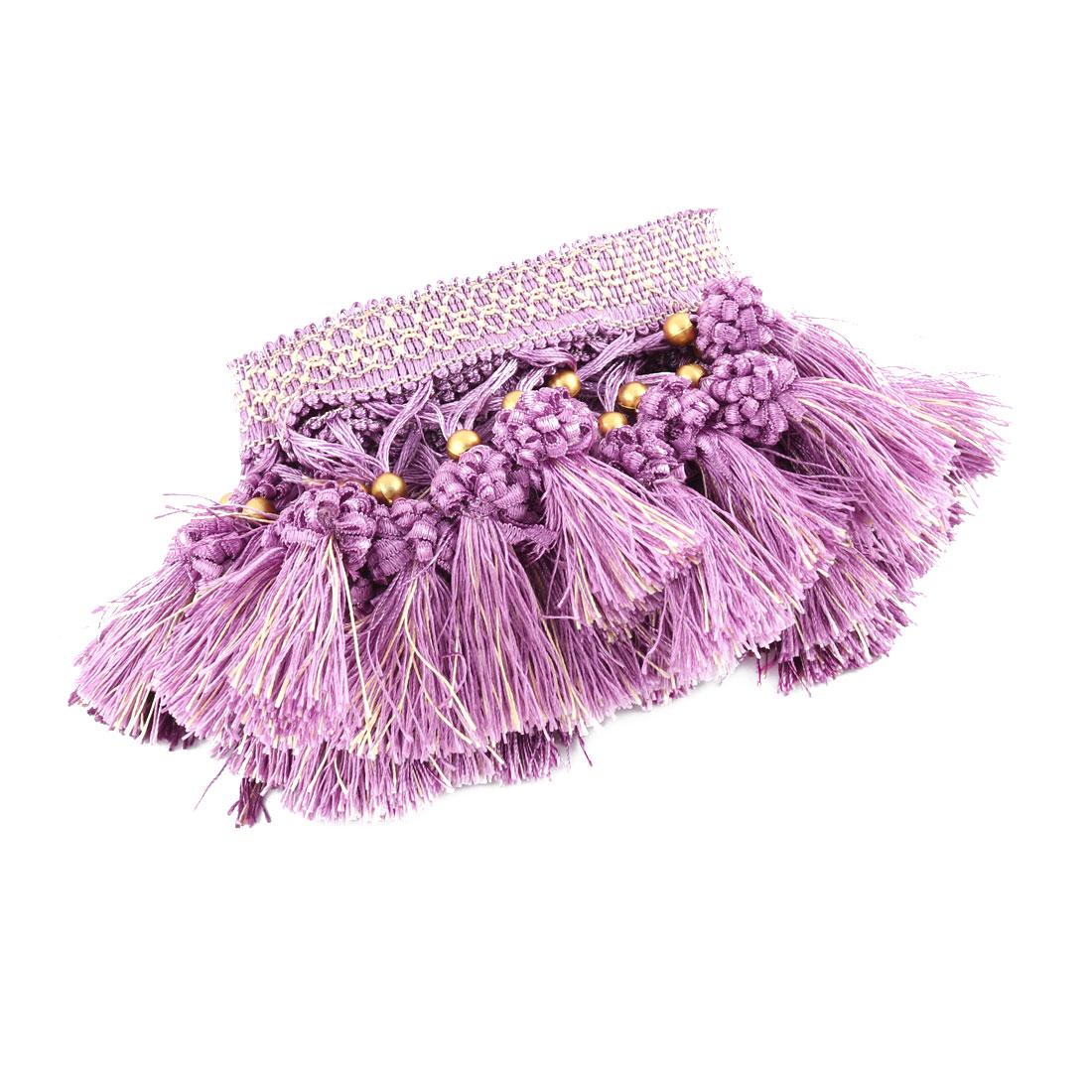 Family Polyester Flower Ball Pendant Curtain Tassel Fringe Trim Purple 3.3 Yards Length