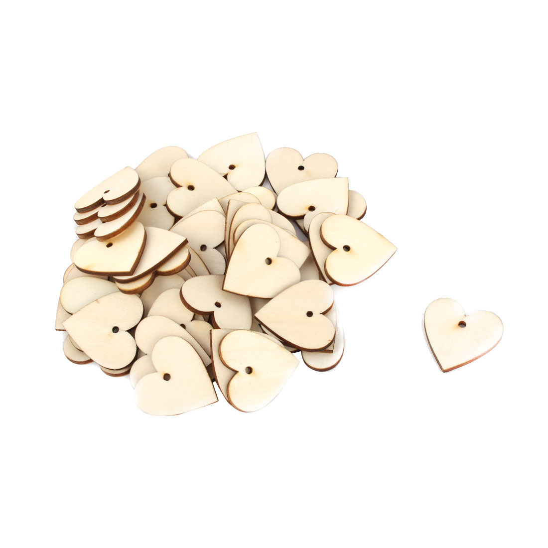 Holiday Wooden Love Heart Shaped DIY Wedding Ornaments Beige 30mm x 30mm 50 Pcs