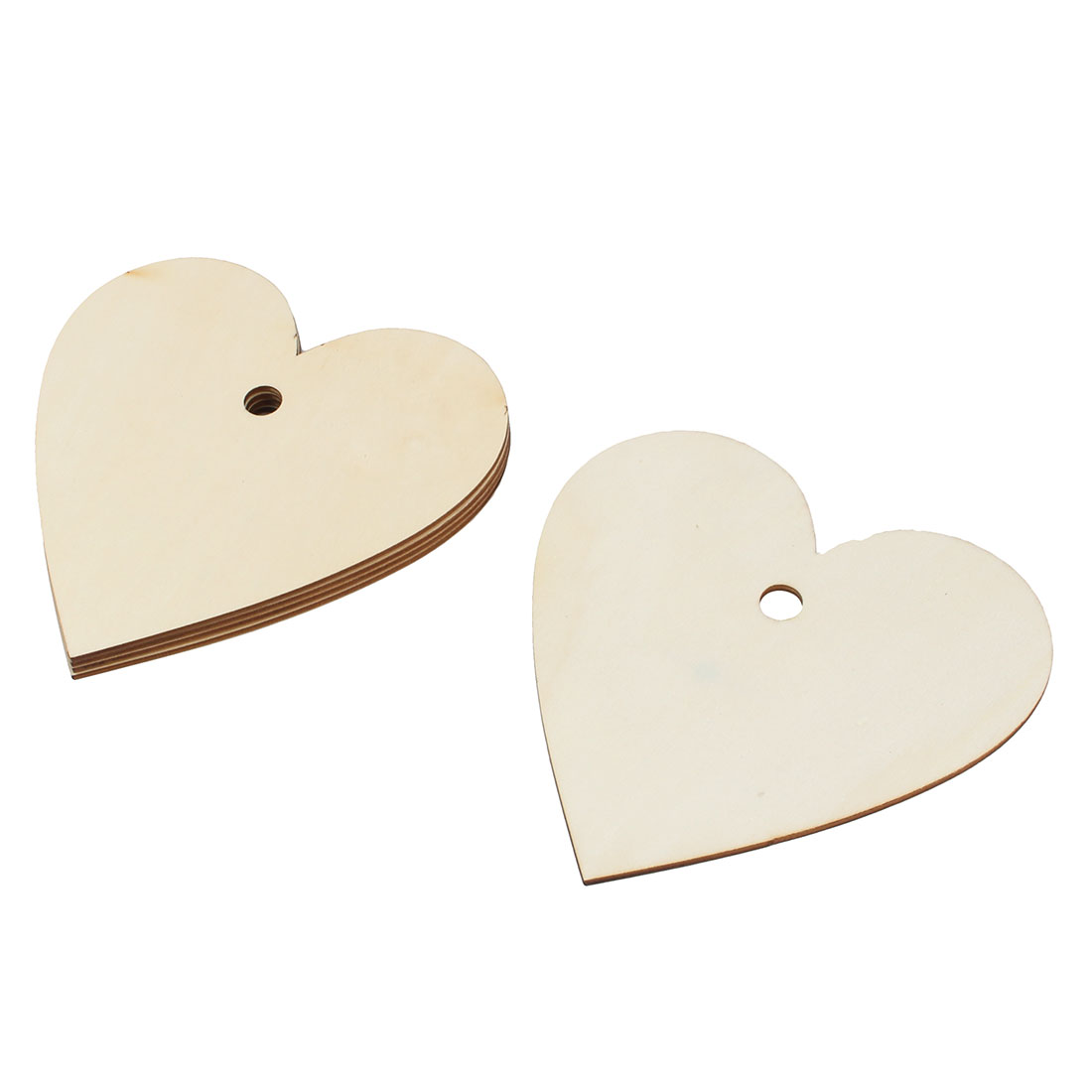 Wooden Love Heart Shaped Wedding DIY Craft Accessories Beige 150mm x 150mm 5 Pcs