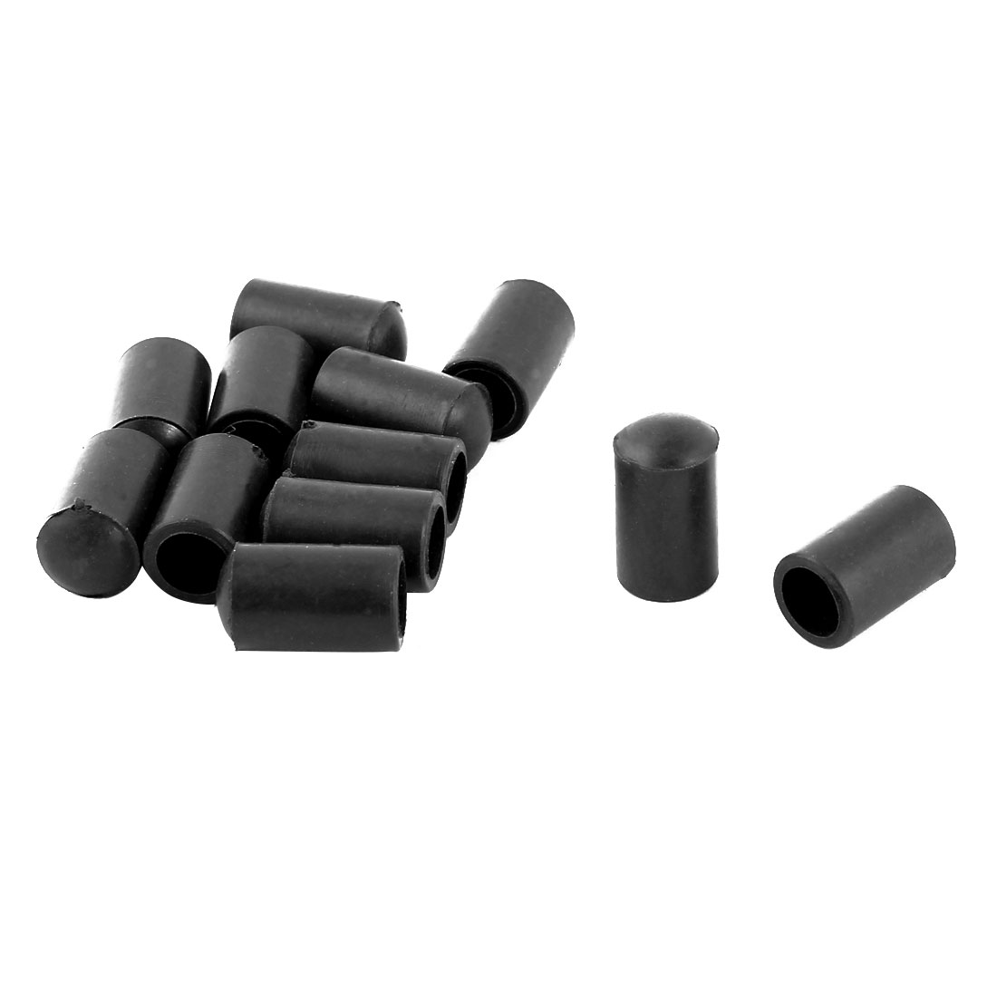 Office Rubber Table Chair Legs Protector Tube Insert Black Dia 6mm 12 Pcs