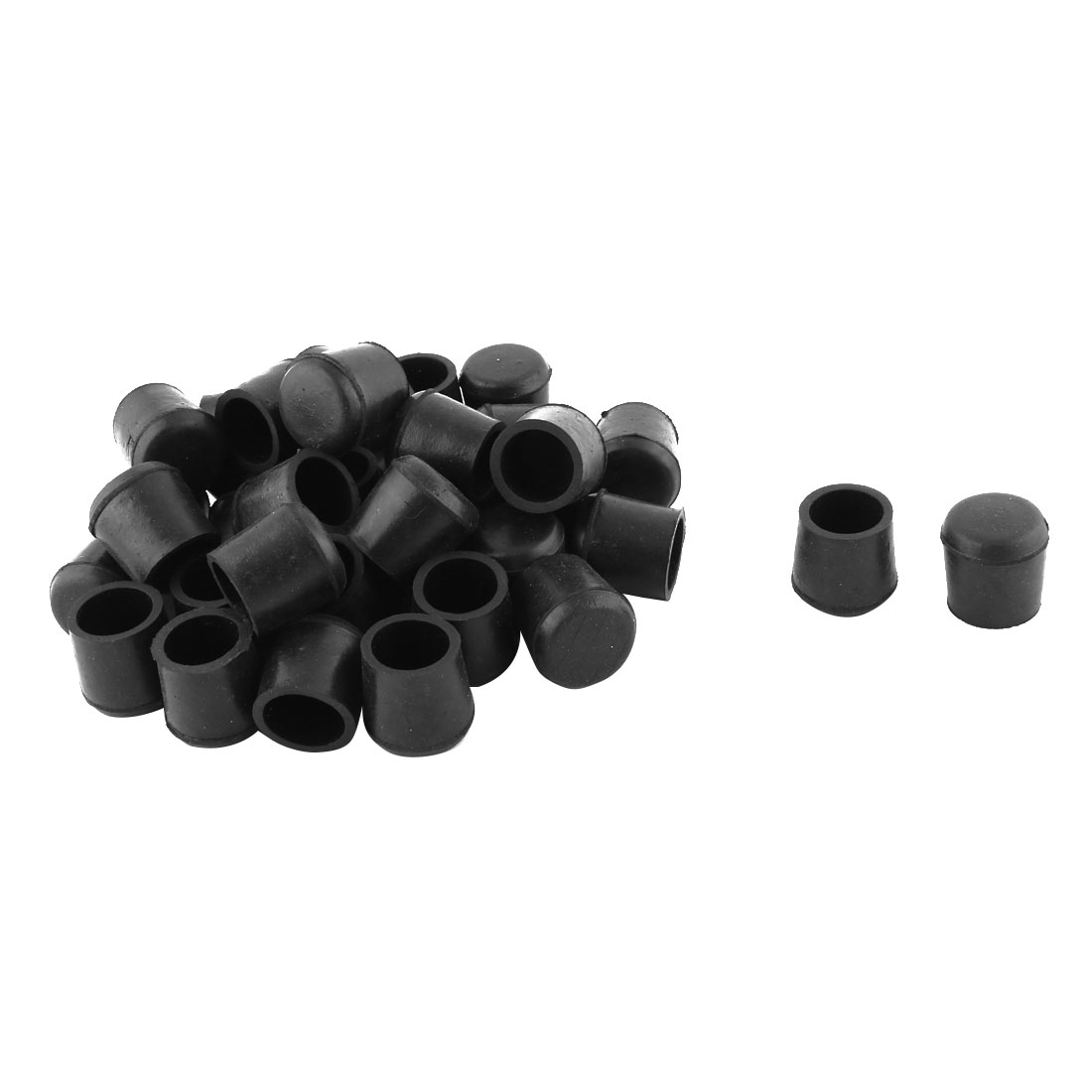 Home Rubber Tube Pipe Insert Furniture Foot Cover Blanking End Cap Black 36pcs