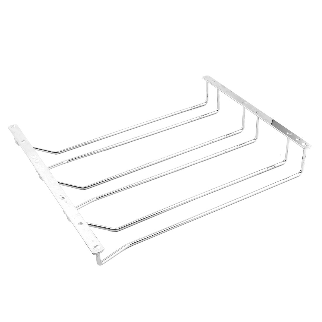 Bar Stainless Steel 3 Rows Design Wine Glass Cup Hanger Shelf Rack 35.5cm Length
