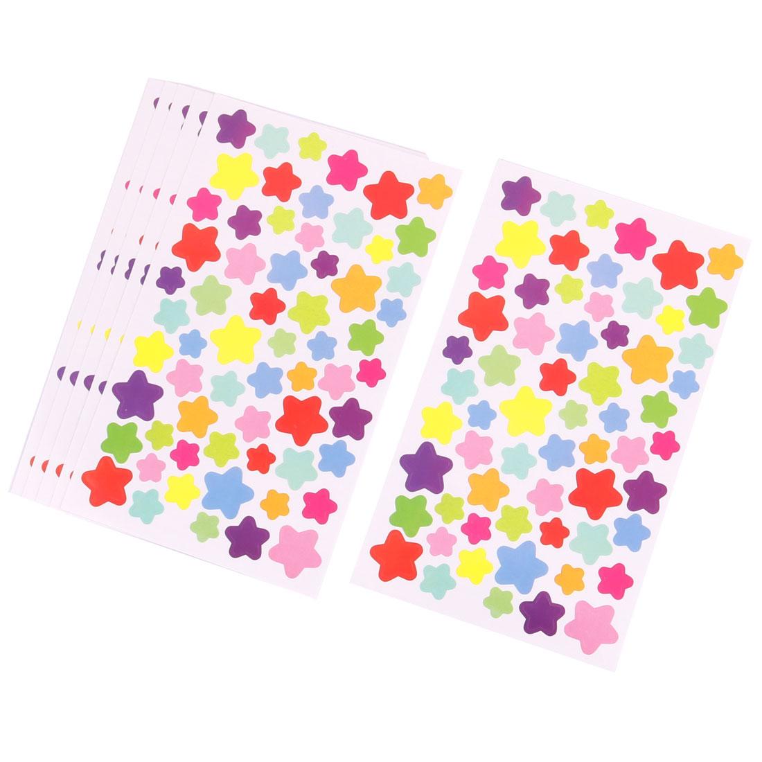 Home PVC Star Print DIY Book Album Sticker Removable Wall Decal Multicolor 6pcs