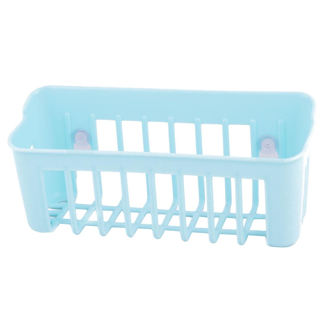 Kitchen Plastic Suction Cup Design Scrubber Sponge Holder Organizer Sky Blue