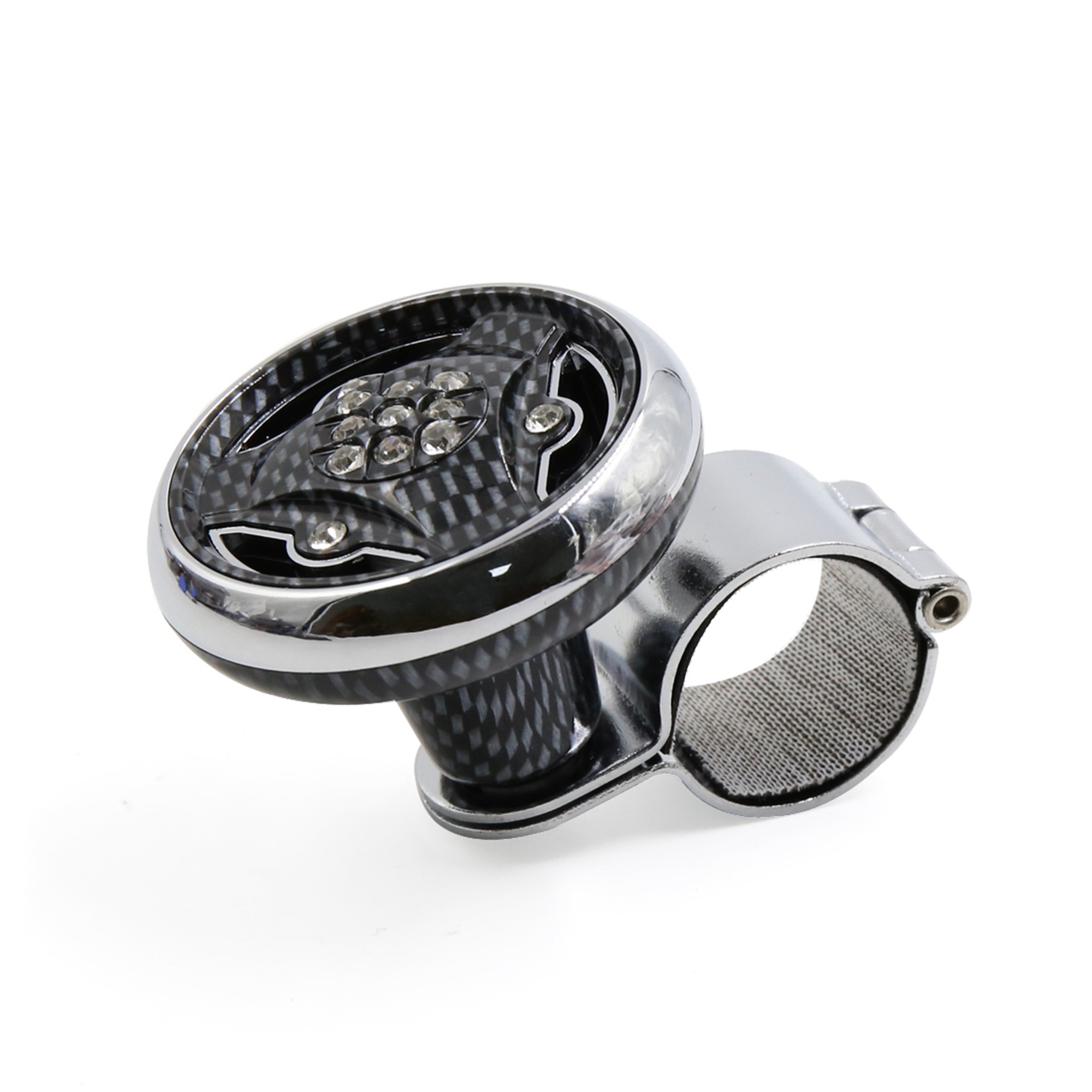 Rhinestone Decor Carbon Fiber Pattern Steering Wheel Spinner Knob Power Handle for Auto Car